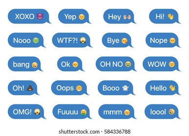 Set of SMS bubbles messages with dialog words and emoji. Vector illustration.