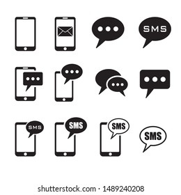 Set of SMS icons, SMS message in smartphone icon. SMS message icon in flat style isolated on white background. Sms symbol in phone.