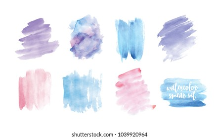 Set of smudges or smears hand painted with watercolor isolated on white background. Collection of expressive paint traces of pastel colors, aquarelle backdrops. Colorful vector illustration.