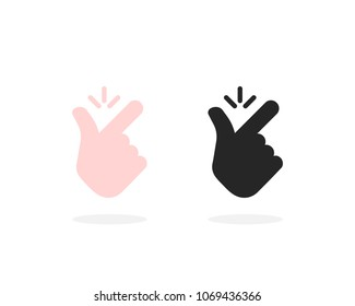 set of snap finger like easy icon. concept of girl or male make flicking fingers and popular gesturing. flat style trend modern simple okay logotype graphic art design isolated on white background