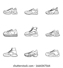 Set of sneakers vector Icon. Linear black shoes on white Background.Simple illustration of fitness and sport, gym shoe. Sign shop graphics