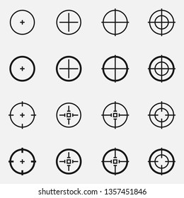 Set of sniper scope crosshairs black and white vector icon.
