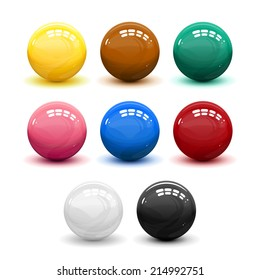 Set of snooker balls, eps10 illustration make transparent objects, isolated