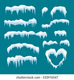 Set of I snow cap  in cartoon style.Snowballs,Snowfall  and snowdrifts vector collection for winter decoration in your design