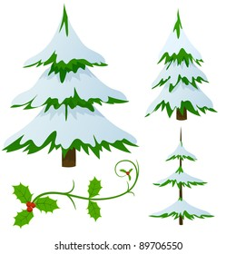 Set of snow covered fir trees and holly christmas decorated branch. Vector illustration.