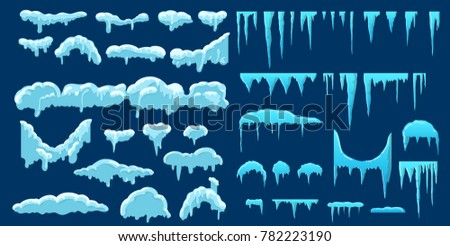 set snow icicles snow cap vector stock vector royalty free