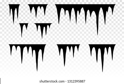 Set of snow icicles. Melting icicles. Paint dripping. Dripping liquid. Paint flows. Current paint, stains. Current inks. Stalactites outgrowths. Mineral formations. Vector illustration.