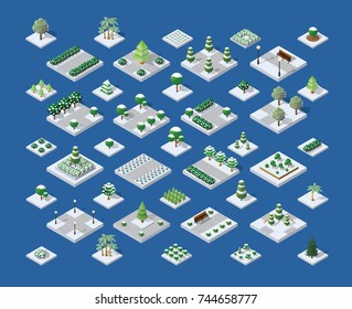 Set of snow snowbound winter Christmas trees, parks and bushes of urban infrastructure for building an isometric city