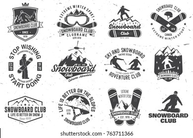 Set of Snowboard Club insignia or badge. Vector. Concept for shirt , print, stamp or tee. Vintage typography design with snowboarder and mountain silhouette. Extreme winter sport.