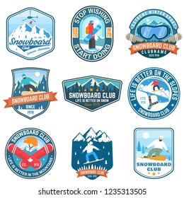 Set of Snowboard Club patches. Vector illustration. Concept for patch, shirt, print, stamp or tee. Vintage typography design with snowboarder and mountain silhouette. Extreme winter sport.