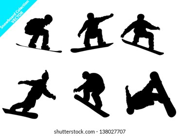 Set of Snowboard Vector Silhouettes