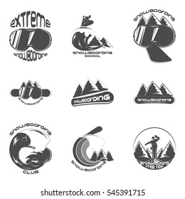 Set Snowboarding logo design template elements on a white background