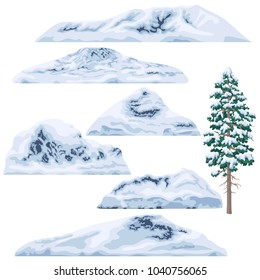 Set of snow-capped mountains and hills isolated on white background. Winter pine tree. Nature landscape design elements. Vector flat illustration.