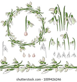 Set with snowdrops on white.