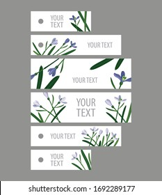 set snowdrops on a white background: six rectangular tags stripes