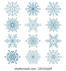 Set of snowflakes. Blue vector snowflakes on a white background. Beautiful winter ornament. Snowflake icons