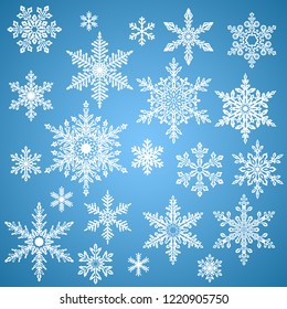 Set of snowflakes, decoration for christmas and new year, and winter holiday season, abstract snow flakes crystals. Contains no transparency.