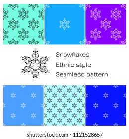 Set Snowflakes. Ethnic style. Seamless pattern. For winter, New Year Christmas projects