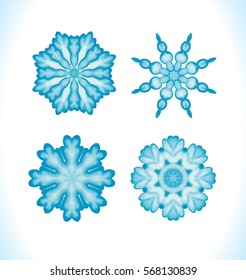 Set of snowflakes, fractals or mandalas  great for christmas or ethnic use. Hand drawn watercolor  illustration.