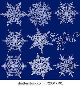 Set of snowflakes. Holiday collection. Black and white snowflakes. Vector illustration.
