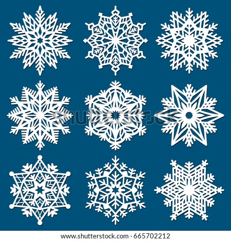 Set Snowflakes Laser Cutting Template Christmas Stock Vector Enchanting Snowflake Cutting Patterns