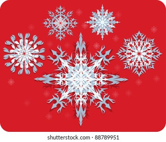 A set of Snowflakes  on removable red background.