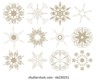 Set of snowflakes on a white background