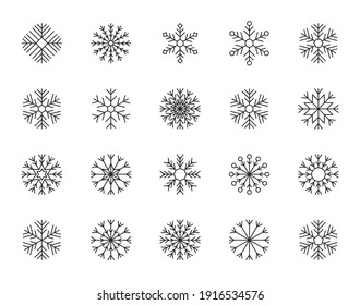 Set of snowflakes in thin line style. Vector illustration