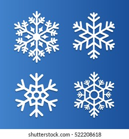 Set of snowflakes vector illustration icons, labels