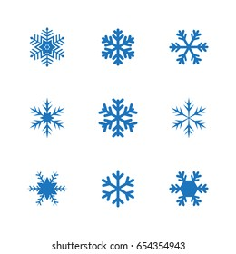 Set of snowflakes vector illustration icons