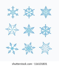 Set of snowflakes, white background
