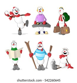 Set of snowmen showing different professions and situations