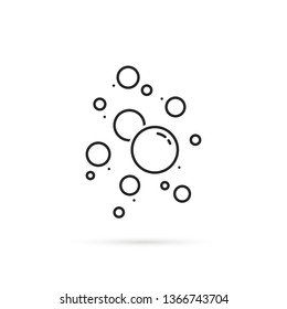 set of soap or champagne bubble icon. flat linear style trend modern logotype graphic art design isolated on white. concept of oxygen or foam