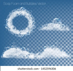 Set of soap foam and bubbles on transparent background. Vector illustration