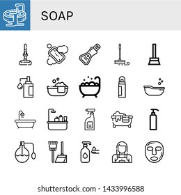 Set of soap icons such as Jacuzzi, Mop, Soap, Broom, Bathtube, Deodorant, Baby tub, Hot tub, Bathtub, Cleaning products, Gel, Perfume, Lotion, Maid, Facial mask , soap