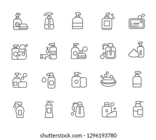 Set of soap Related Vector Line Icons. Contains such Icons as shower gel, foam, bathroom, hygiene, shampoo and etc. - Vector