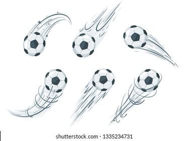Set of soccer ball in action. Cartoon style vector illustration design element. Football icon with speed lines.