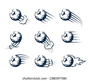 Set of Soccer Balls with fast motion effect. Moving balls vector icons.