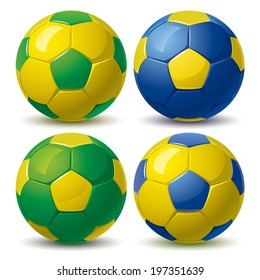 set of soccer balls in yellow green blue colors