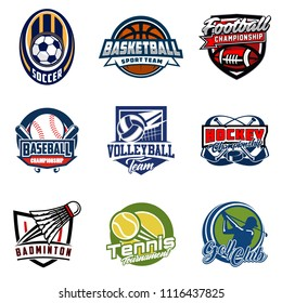 Set of soccer, basketball, american football, hockey, baseball, volleyball, badminton, tennis, golf badge logo design icon. Sport identity emblem patch vector illustration collection