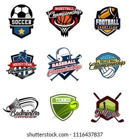 Set of soccer, basketball, american football, hockey, baseball, volleyball, badminton, tennis, golf badge logo design icon. Sport identity emblem patch vector illustration collection