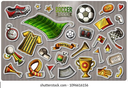 Set of Soccer cartoon stickers. Vector hand drawn objects and symbols collection. Label design elements. Cute patches, pins, badges series. Comic style.
