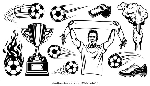 Set of soccer elements and objects. Vector illustration.