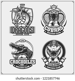 Set of soccer emblems, badges, logos and labels with cobra, crocodile and dragon.