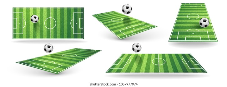 Set Soccer Field Isolated on White. Vector illustration