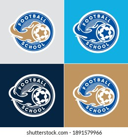 Set of Soccer Football Badge Logo Design Templates   Sport Team Identity Vector Illustrations isolated on white Background   Collection of Soccer Themed T shirt Graphics