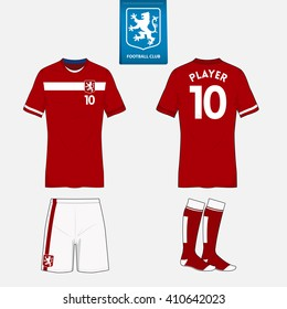 Set of soccer or football kit template for your sport club. Front and back view. Vector Illustration