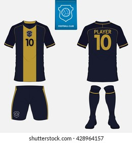 Set of soccer or football kit template for your football club. Front and back view. Football uniform. Vector Illustration