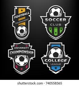 Set of Soccer Football logo, emblem. Design Templates on a dark background.