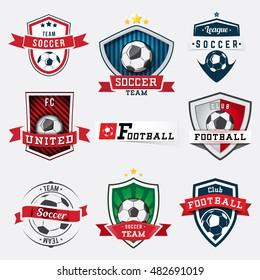 Set of soccer football logos and emblems